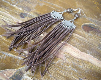 Fringe Earrings Statement Earrings Suede Earrings Dangle Earrings Silver Long Boho Earrings Bohemian Earrings Inspired Earrings