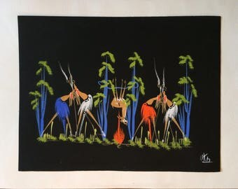 African Tribal Modernistic Watercolor Gouache Painting