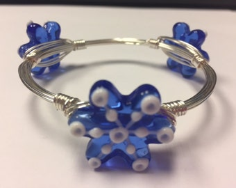Wire Wrapped Beaded Bracelet--Snowflakes