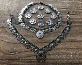 Zodiac coin anklets