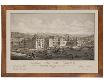 Vassar College, Poughkeepsie NY 1862; 24x36 inch print reproduced from a vintage lithograph