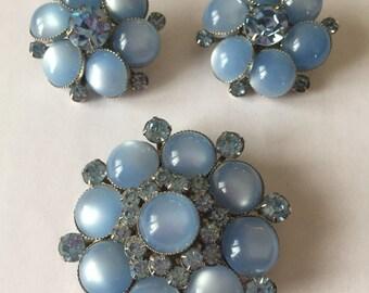 Vintage Judy Lee Light Blue Brooch and Earrings with Pale Blue Rhinestones