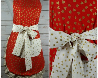 Adult Apron | Womens Apron | Valentine's red, white and gold hearts and polka dots