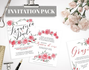 "PRINTABLE Wedding Kit ""red roses"""