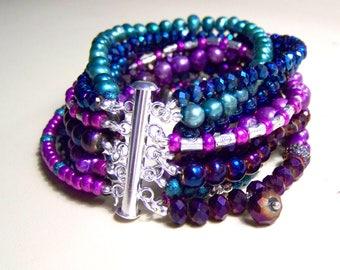 MULTI STRAND BRACELET ... shades of purple, blue and turquoise