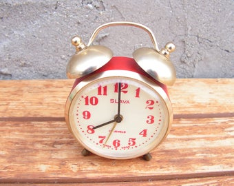 Rare mechanical alarm clock, Vintage alarm clock , Soviet alarm clock , Slava, USSR metal clock, Red alarm clock