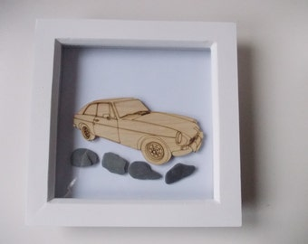Mgb GT Picture -  Etched wood Mgb GT with Sea Slate in white frame
