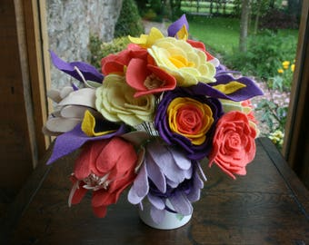 Felt Flower Bouquet - Corals and Purple