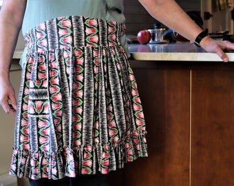 Vintage Apron - Black Cotton with Red Flowers - Ruffles on Bottom