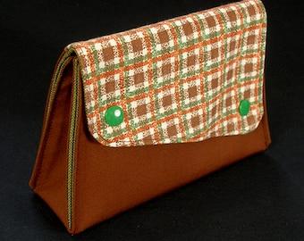 Retro Cosmetic bag brown checkered