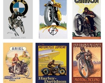 1:25 G scale model vintage motorcycle posters