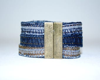 Bracelet three strands in Jean Upcycle