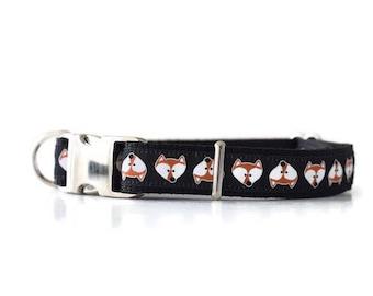 Cute fox dog collar, fox dog collar, shiba dog collar, male dog collar, female dog collar, black dog collar, cute dog collar