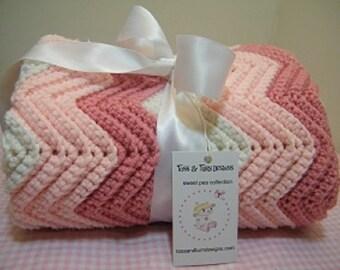 crochet knit rose/pink/white baby blanket chevron