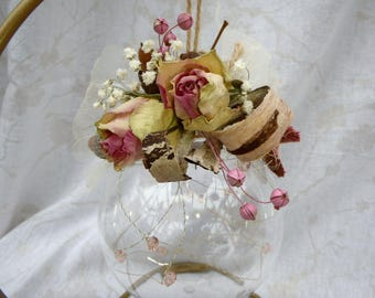 Floral arrangement Pink Dried RosesTransparentBaubleGoldWire Blue Bids Hessian Bow Birthday Anniversary Gift Box Natural