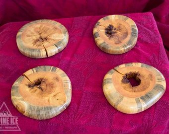 Round Coasters-  Natural Blue Stain Pine