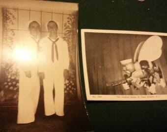 Scarce WW2 U.S. Navy Seabee Twins original real photo and Camp Endicott Rhode Island 1944 Post Card free shipping