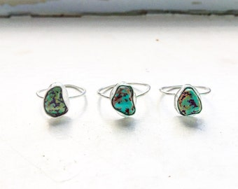 The Desert Rose Series: Natural Alacron turquoise available for custom-sized fine and sterling silver stacking rings