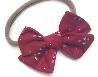 Vintage Fabric Red and Blue Floral Janie Bow