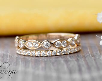 Bands Set of 2 - Scalloped Art Deco Band + Half Eternity Band in 14 Karat Yellow Gold,  Engagement/Wedding Band, Gold Stacking by Sapheena