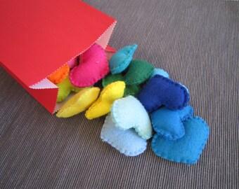rainbow hearts, colorful felt hearts, handmade, decor, gift, gift box filler, garland, wall decor