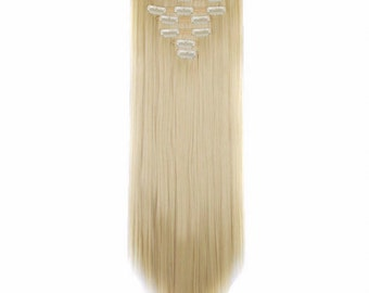 "Blonde Hair Extensions Bleach Blonde 24"" Clip In Extensions Human Remy Hair Weave Long Double Weft Halo Tape In Long Thick Wig"