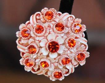 Vintage Orange Rhinestone Plastic Clip On Earrings