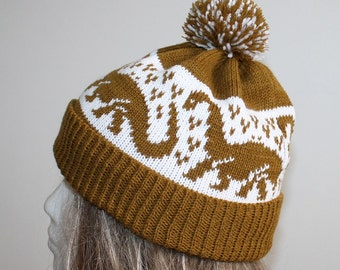 Khaki Brown and White with Dinosaurs Beanie Hat with or without pompom Christmas in July