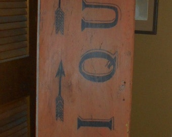 Hand Made Antiques Sign from an Old Cupboard Door - Local Pick Up Only