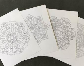 4 Printable Coloring Mandalas