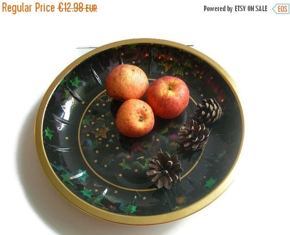 ON SALE Vintage West German Metal Plate Bowl Fruit Bowl Dish Tray Retro Christmas Home Decor Black and Gold with Stars