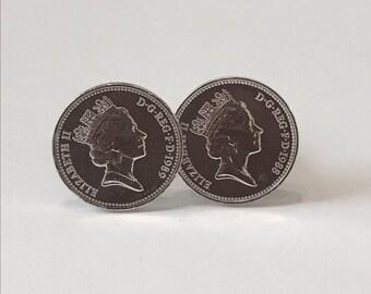British One Penny Cufflinks Rhodium Plated