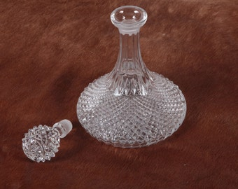 Vintage Ship's Diamond Cut Decanter With Thistle Stopper