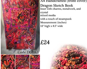 A4 Handcrafted Polymer Clay Dragon Sketch/Journal Book