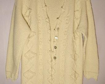 Vintage 80s Womens Jacket/ Elegant Sweater/Cotton Cardigan/ Knitted White Coat/ Long Sweater/ Button Up/Autumn Jacket/ Size Large
