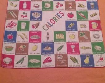 """Vintage """"calories"""" Handkerchief Hanky"""