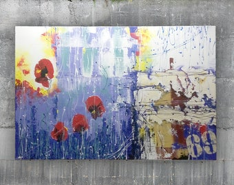 Abstract painting poppy on canvas