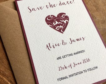 Heart Save the date card - sample
