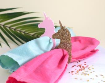 Unicorn Napkin Rings in Pink or Gold - Party Napkin Rings, Wedding Napkin Rings