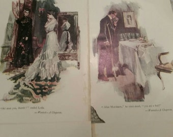 Wanted a Chaperone illustration book prints, collectables collage ephemera, lot of 6 pages