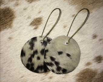 Round Hair On Hide Leather Earrings