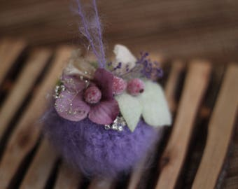 purple  Mohair Crochet Christmas Ornaments, Unique Christmas Ornaments
