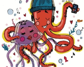 The Octopus Arturo and pink jellyfish