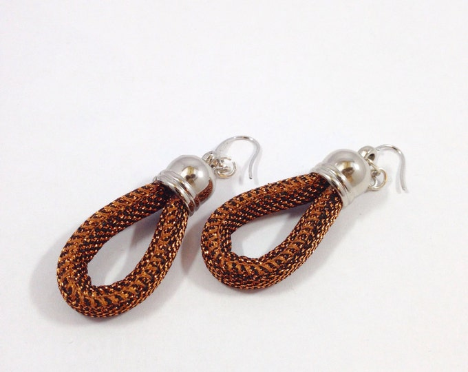 Bronze-colored rope earrings