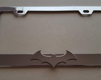 Batman Chrome 3D on Chrome Metal License Frame
