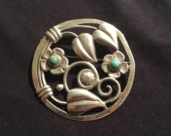 20% OFF SALE****Mexican Sterling & Turquoise Brooch