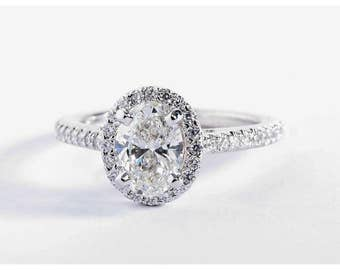 2 Carat WHITE sapphire ring,Natural White sapphire engagement ring. Oval Halo Ring in 14k White Gold