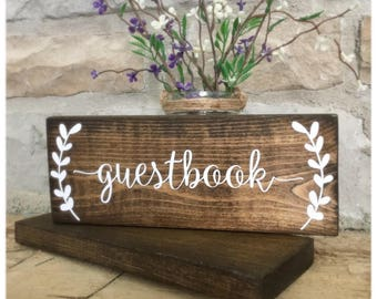 Guestbook Wedding Table Sign, Rustic Guestbook Sign, Wedding Guestbook Sign