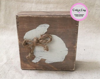 Rustic Wood Bunny Block