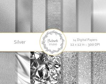Silver digital paper - Silver clipart, Foil, Glitter Metallic Scrapbook paper - Silver Digital Paper - Silver Digital Paper - Commercial use